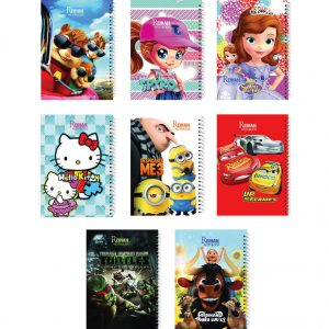 فروش عمده دفتر فانتزی کارتونی سیمی (50 برگ)