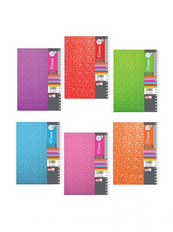 دفتر رحلی خطی جلد طلق رنگی – سیمی (160 برگ)